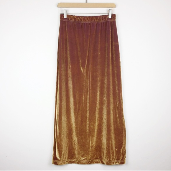 Vintage Dresses & Skirts - Vntg gold ombré velvet stretch midi pencil skirt